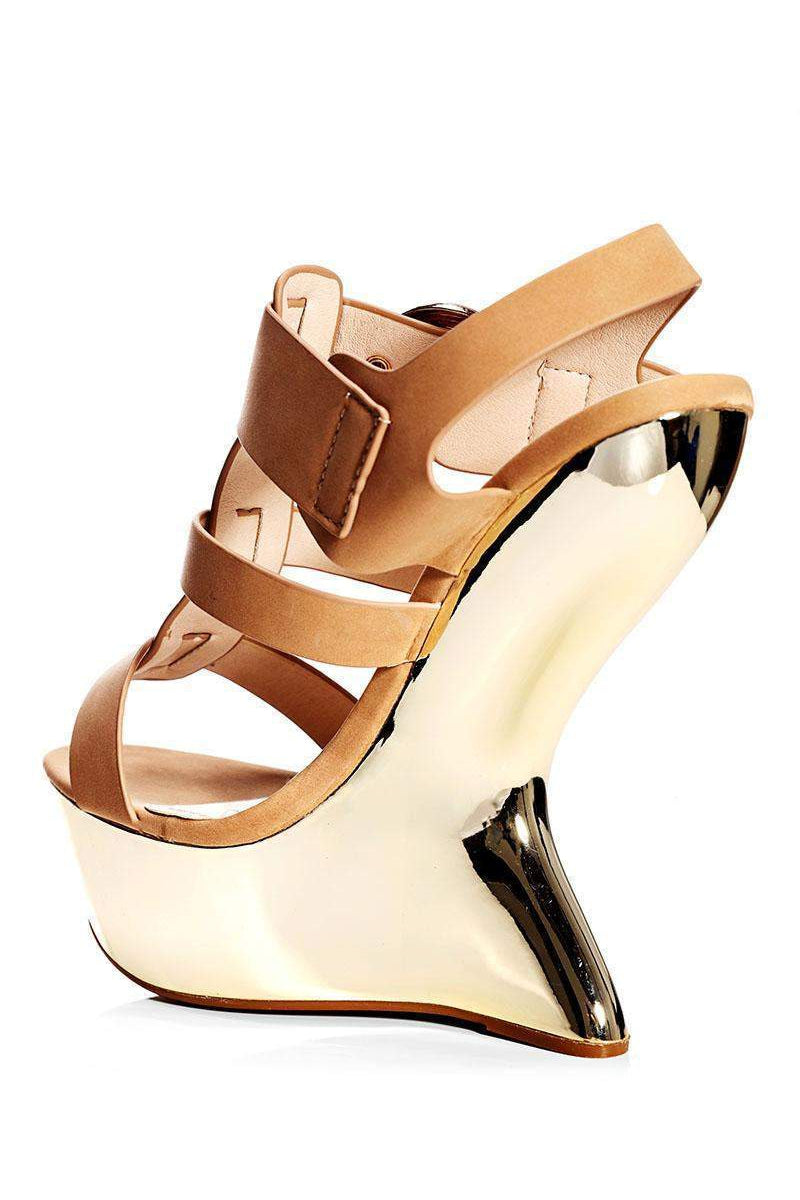 Camel Cut Out Wedge Sandals - SinglePrice