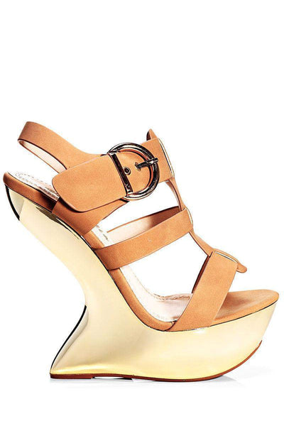 Camel Cut Out Wedge Sandals-Single price