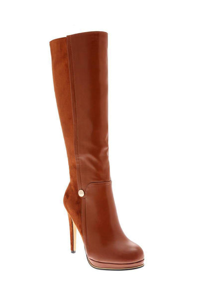 Camel Panelled Knee High Platform Boots-Single price