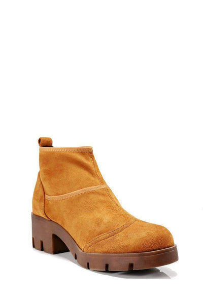 Camel Sock Block Heeled Ankle Boots-Single price