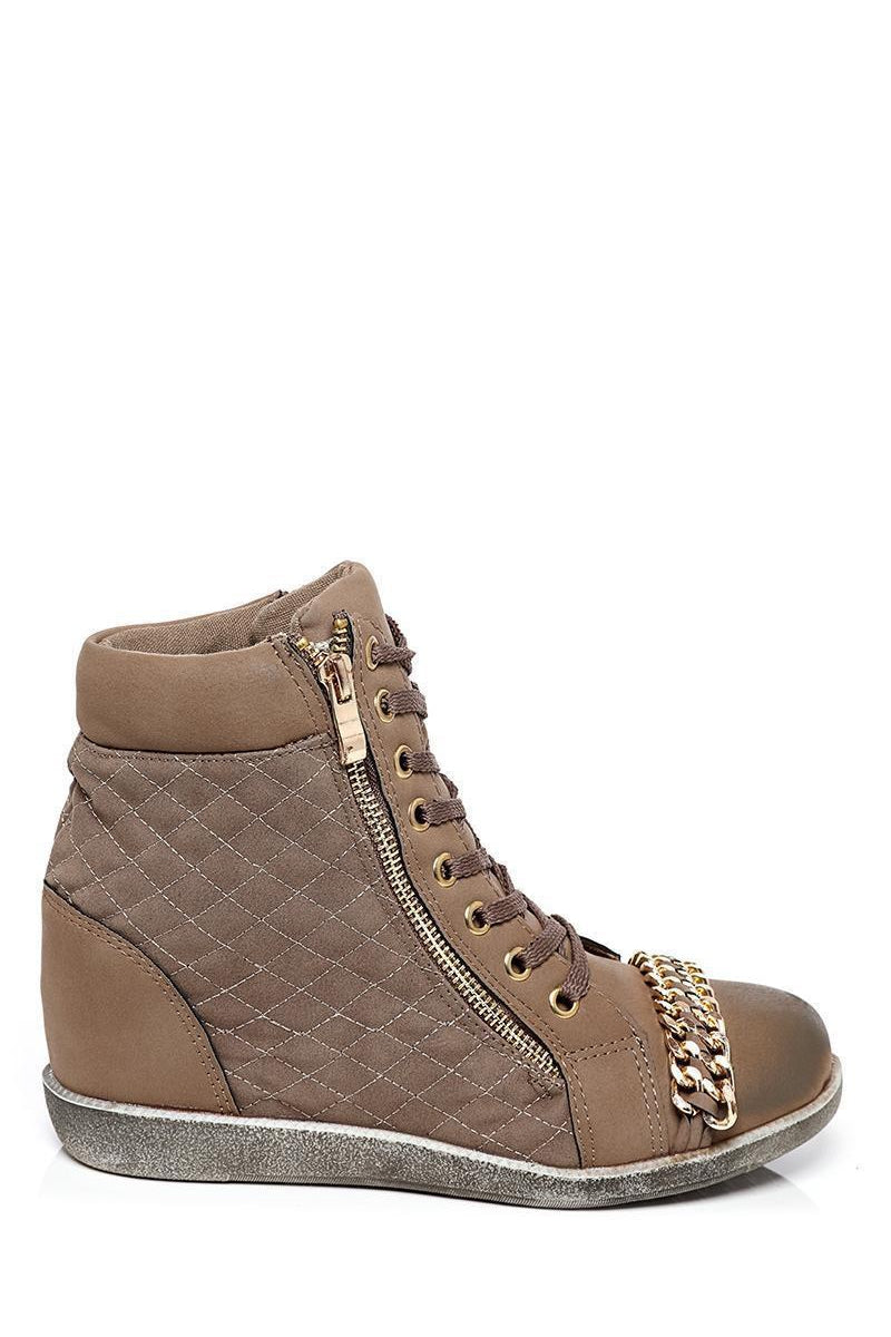 Chain Details Khaki Hidden Wedge Trainers-SinglePrice