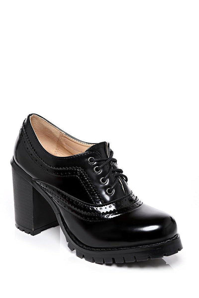 Chunky Heel Patent Black Brogues-SinglePrice