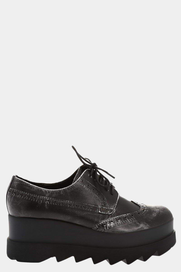 Cleated Platform Grey Brogues - SinglePrice
