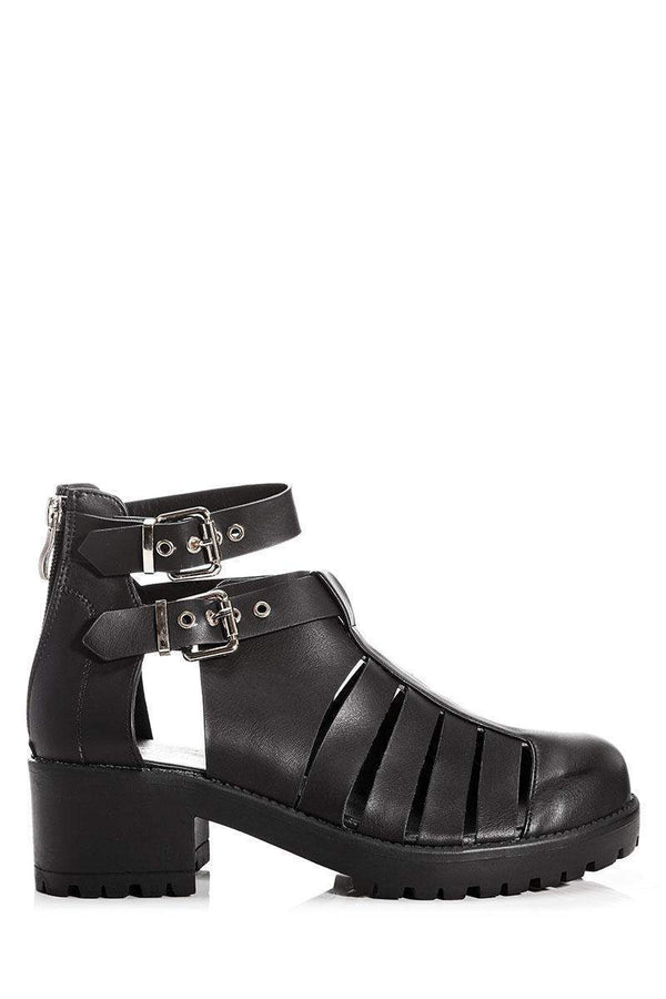 Cleated Platform Strappy Black Summer Boots-Single price