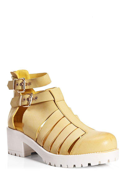 Cleated Platform Strappy Camel Summer Boots-Single price