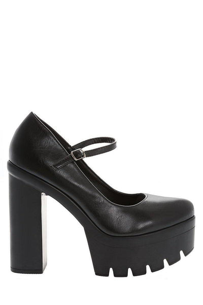 Cleated Sole Black Platform Heels-Single price