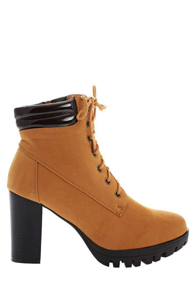 Cleated Sole Camel Ankle Boots-Single price