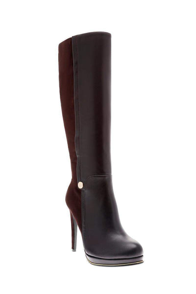 Coffee Panelled Knee High Platform Boots-Single price