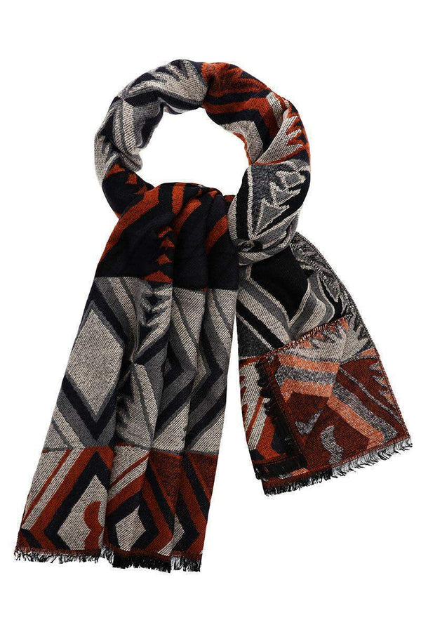Colour Block Pattern Navy Scarf - SinglePrice