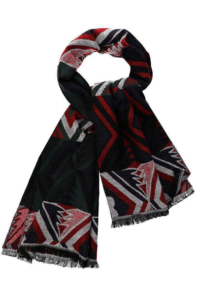 Colour Block Pattern Red Scarf-Single price