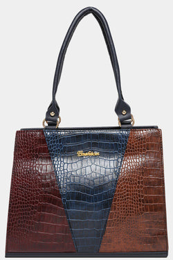 Navy Vegan Mock Croc Colourblock Handbag-SinglePrice