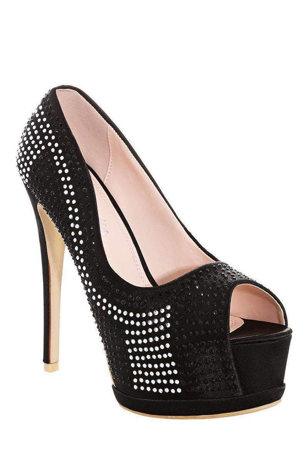 Contrast Crystals Embellished Black Platform Shoes - SinglePrice