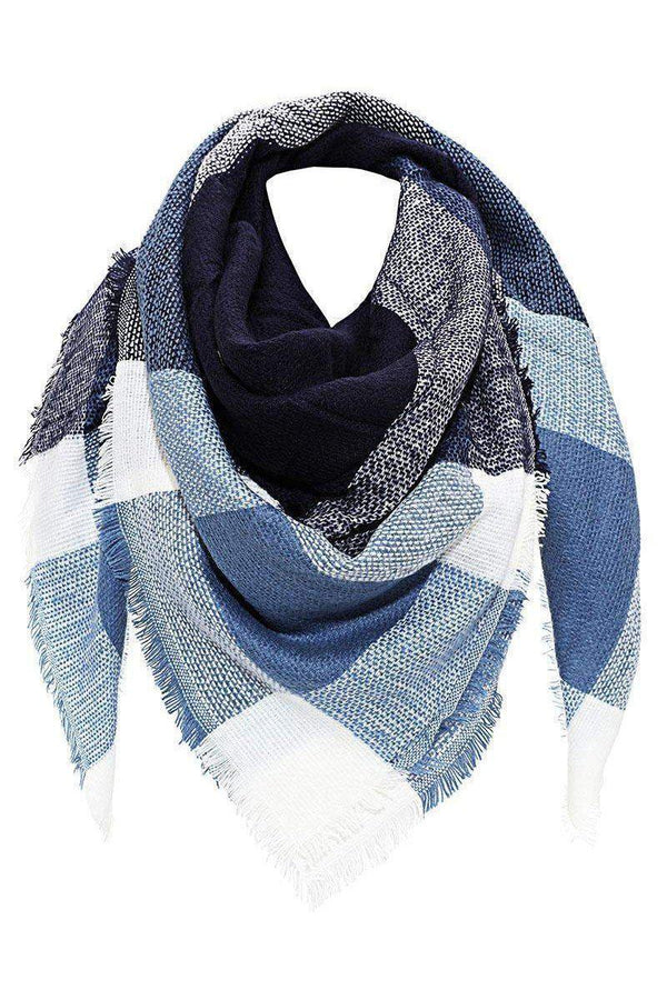 Contrast Plaid Frayed Blue Square Scarf-SinglePrice
