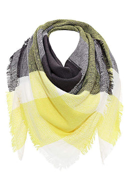 Contrast Plaid Frayed Grey Square Scarf - SinglePrice