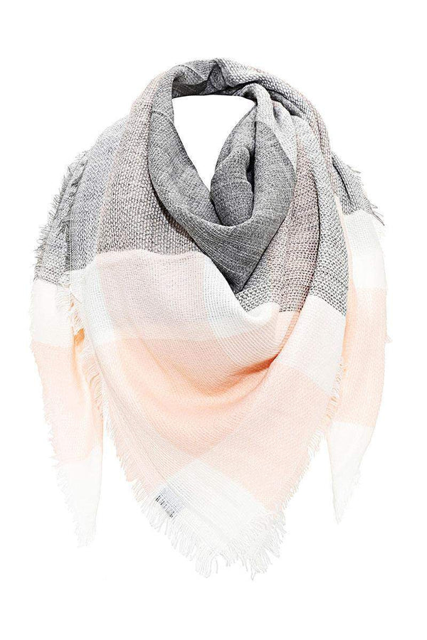 Contrast Plaid Frayed Hemp Grey Square Scarf - SinglePrice