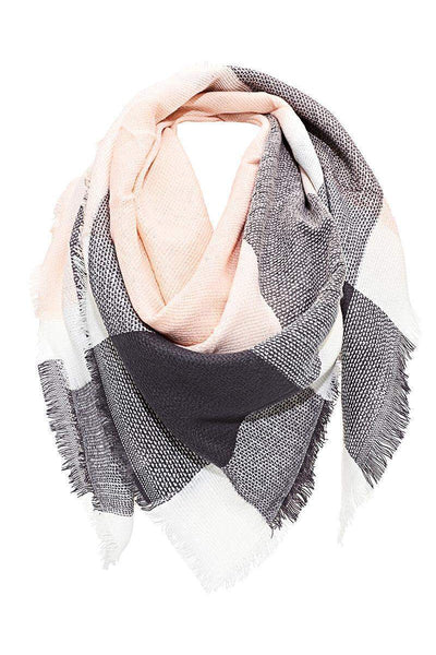 Contrast Plaid Frayed Pink Square Scarf-Single price