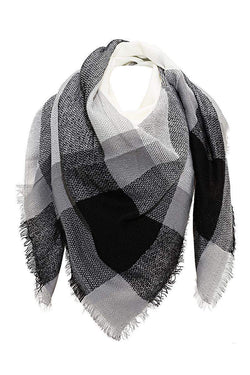 Contrast Plaid Frayed White Square Scarf-Single price