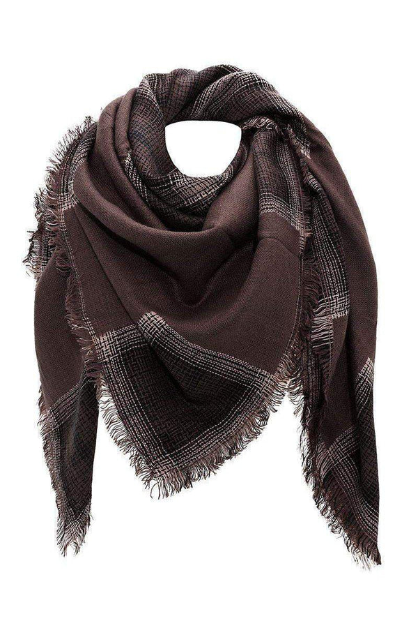 Contrast Plaid Grey Square Scarf - SinglePrice