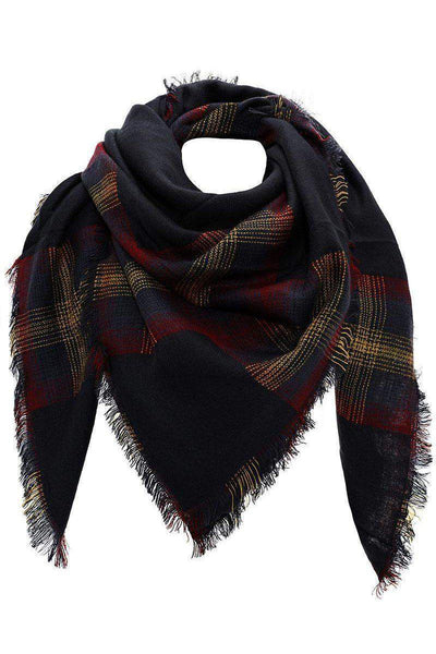 Contrast Plaid Joe Green Square Scarf-Single price