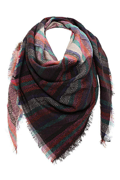 Contrast Stripes Pink Square Scarf-Single price