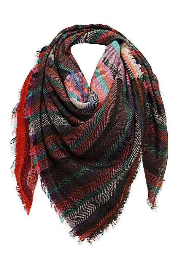 Contrast Stripes Taupe Square Scarf-Single price
