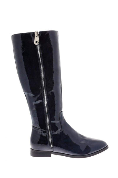 Contrast Zip Navy Patent Boots-Single price