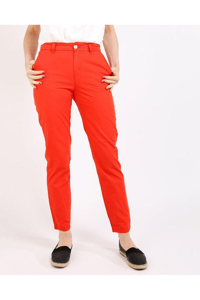 Coral Red Cargo Trousers-SinglePrice