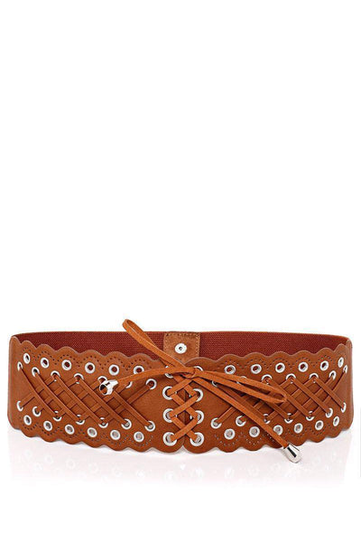 Crossed Laces Brown Elastic Belt-SinglePrice