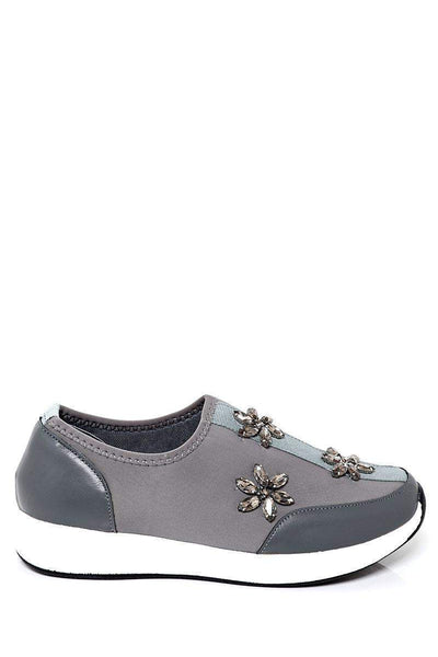 Crystal Flowers Embellished White Wedge Grey Trainers-SinglePrice
