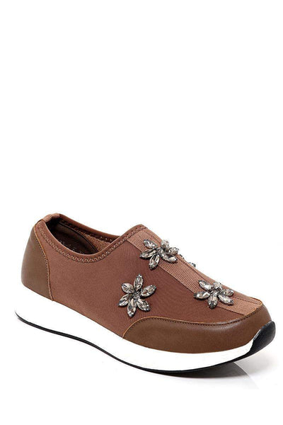 Crystal Flowers Embellished White Wedge Khaki Trainers-SinglePrice
