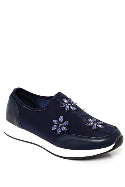 Crystal Flowers Embellished White Wedge Navy Trainers-SinglePrice