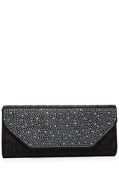 Crystals Embellished Black Lace Clutch-SinglePrice