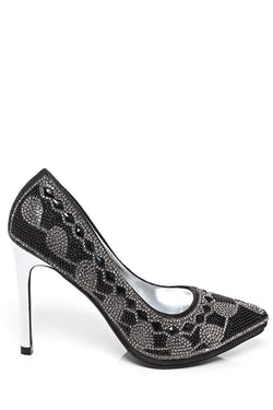 Crystals Embellished Black Stiletto Heels-SinglePrice