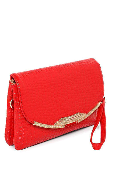 Crystals Embellished Flap Red Handbag-SinglePrice