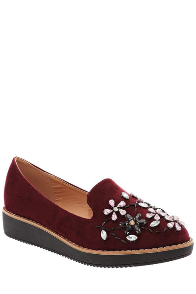Crystals Embellished Red Wine Loafers-Single price