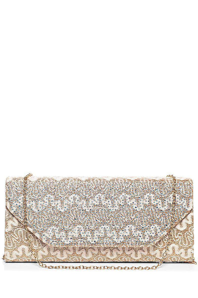 Crystals Embellished Rose Gold Lace Clutch-SinglePrice