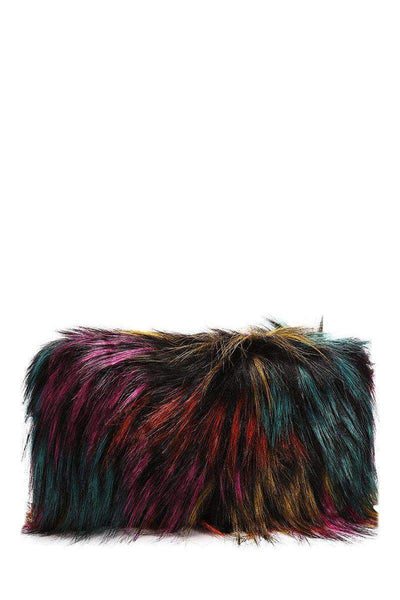 Dark Multicolour Faux Fur Small Clutch-SinglePrice