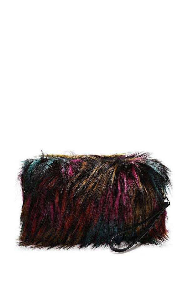Dark Multicolour Faux Fur Small Clutch - SinglePrice