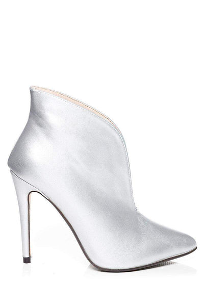 Deep V Front Silver Ankle Boots-SinglePrice