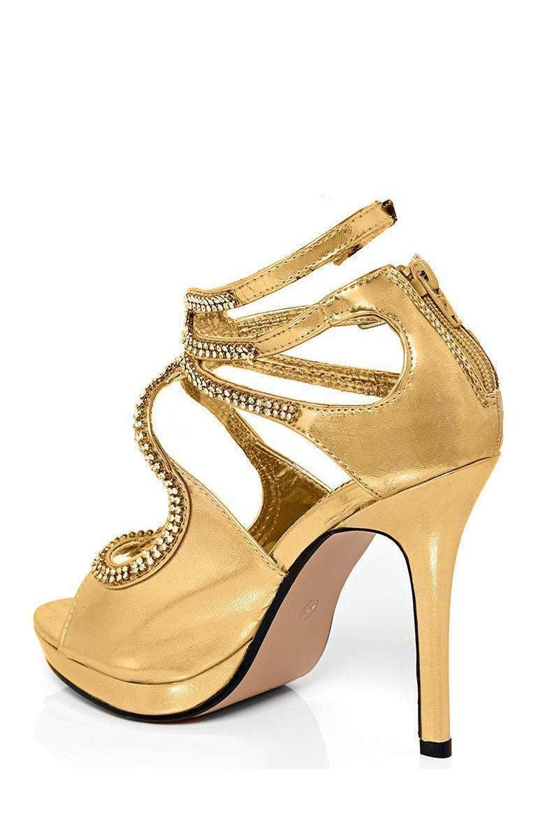 Diamante Embellished Cut Out Gold Heels-SinglePrice