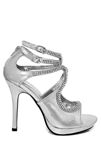 Diamante Embellished Cut Out Silver Heels-SinglePrice