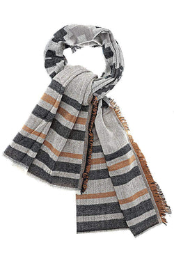 Diamond Stripes Pattern Black Scarf - SinglePrice