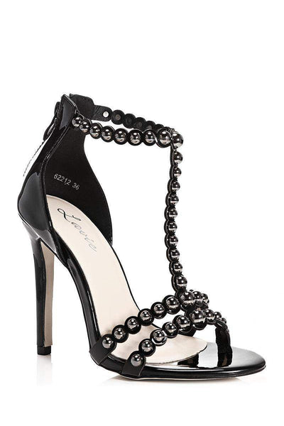 Dome Studs Black T-Bar Heels-Single price