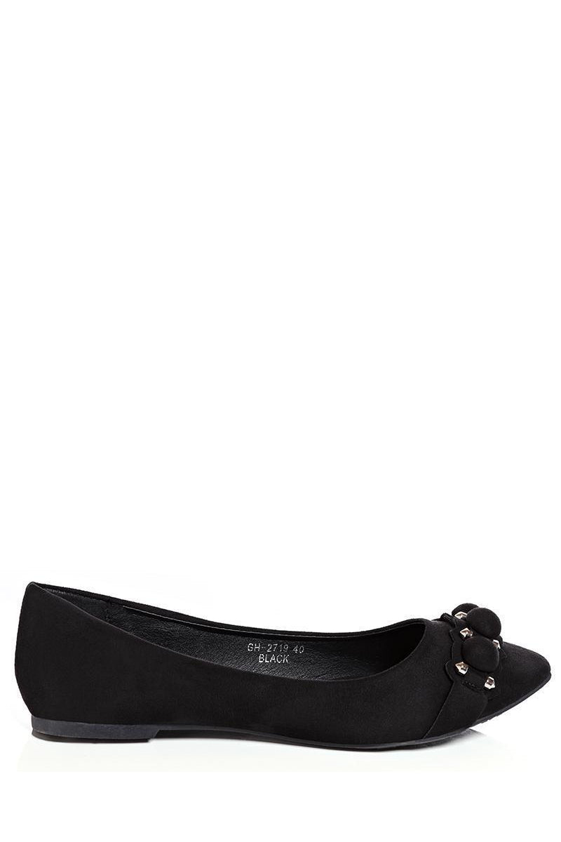 Dome Studs Details Black Flats-SinglePrice