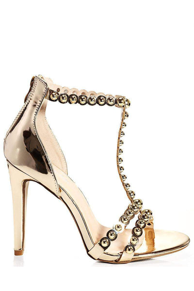 Dome Studs Gold T-Bar Heels-Single price