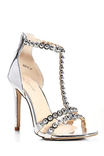 Dome Studs Silver T-Bar Heels-Single price