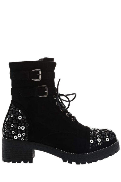 Double Buckle Black Embellished Boots-Single price