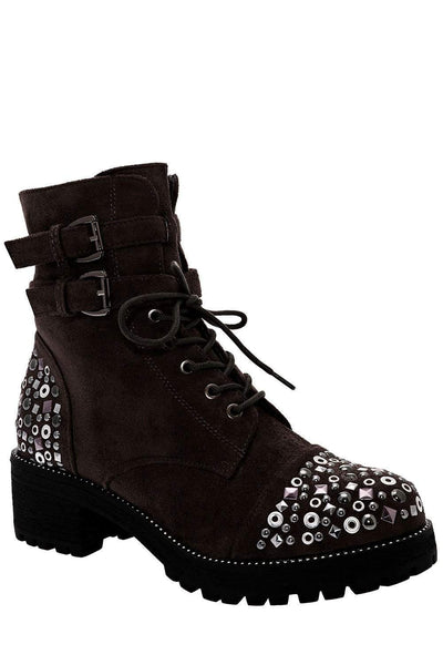 Double Buckle Charcoal Embellished Boots-Single price