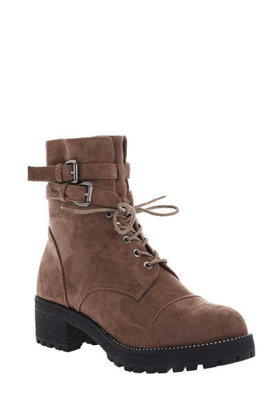 Double Buckle Khaki Boots-Single price