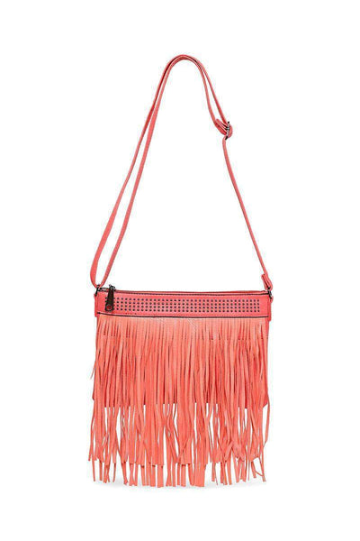 Double Fringe Studded Coral Shoulder Bag-SinglePrice